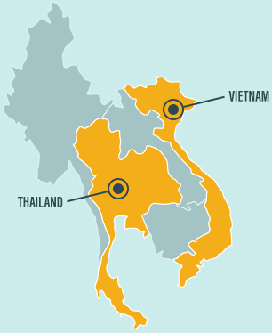 Map of Thailand and Vietnam where we invest in shrimp aquaculture.