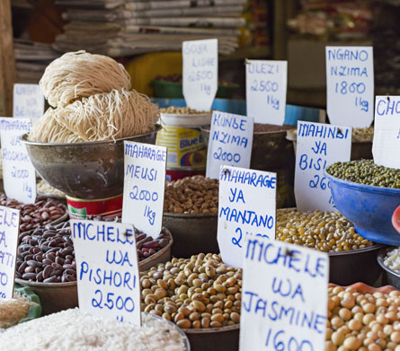 Photo of various soft commodities for sale at a market